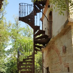 Outdoor spiral staircase in France