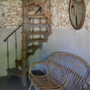 Antic vintage spiral staircase French holiday home
