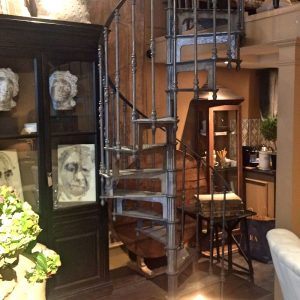 Antique spiral staircase in flower shop