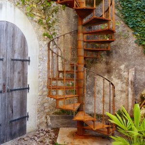 Cast iron vintage spiral staircase