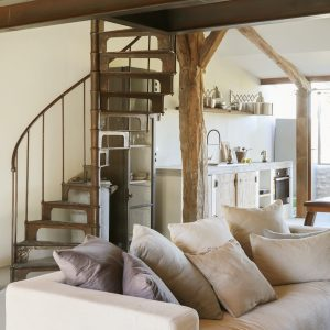 Modern rustic spiral staircase