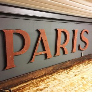 Spiral staircase Paris vintage letters